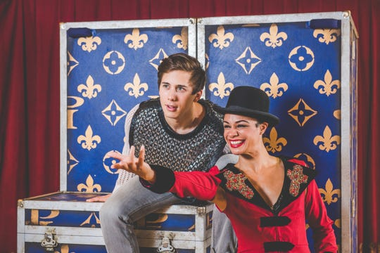 "Lucas Pastrana (left) and Krystal Drake star in the musical ""Pippin,"" performed by Skylight Music Theatre."