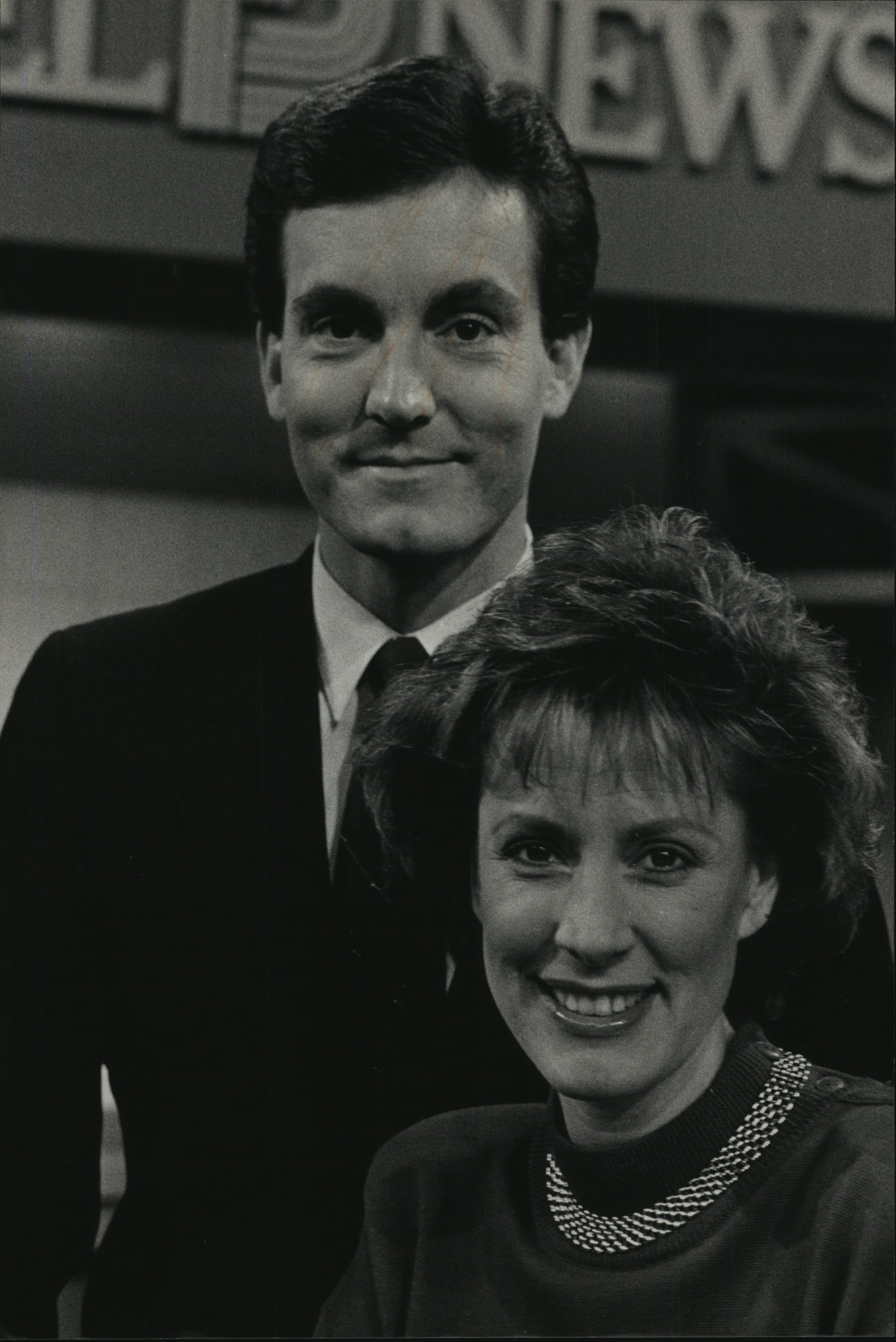 David Davis (left) and Sally Severson were paired together on the then-new early morning newscast on WISN-TV (Channel 12) in November 1988. Davis, who had recently joined the station at the time and worked there through 2002, was killed in a crash in Texas on Sept. 12, 2018, according to news reports.