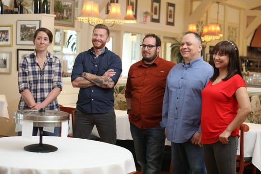 """Contestants (left to right) Caitlin Cullen, Matt Kerley, Aaron Patin, Frankie Sanchez and Barkha Limbu Daily, as seen on Food Network's """"Bite Club."""" The Milwaukee episode airs Sept. 27."""