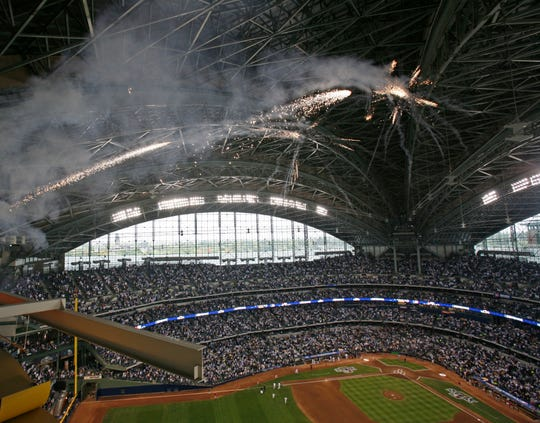Fireworks explode over Miller Park in the fourth game of the NLDS at Miller Park, Sunday, Oct, 5 2008.