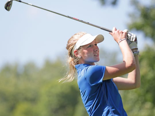 Sydney Lewanovich tees off during the Waukesha County Golf Invitational last September.