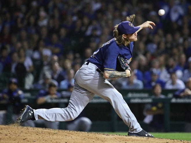 Brewers reliever Josh Hader brings the heat against the Cubs for the second time in the series as he records all three outs in the eighth inning via the strikeout route on Wednesday night.
