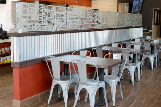 Earth tones that still create a bright and open design are featured in the new West Allis Cousins Subs, 6512 W. Greenfield Ave.