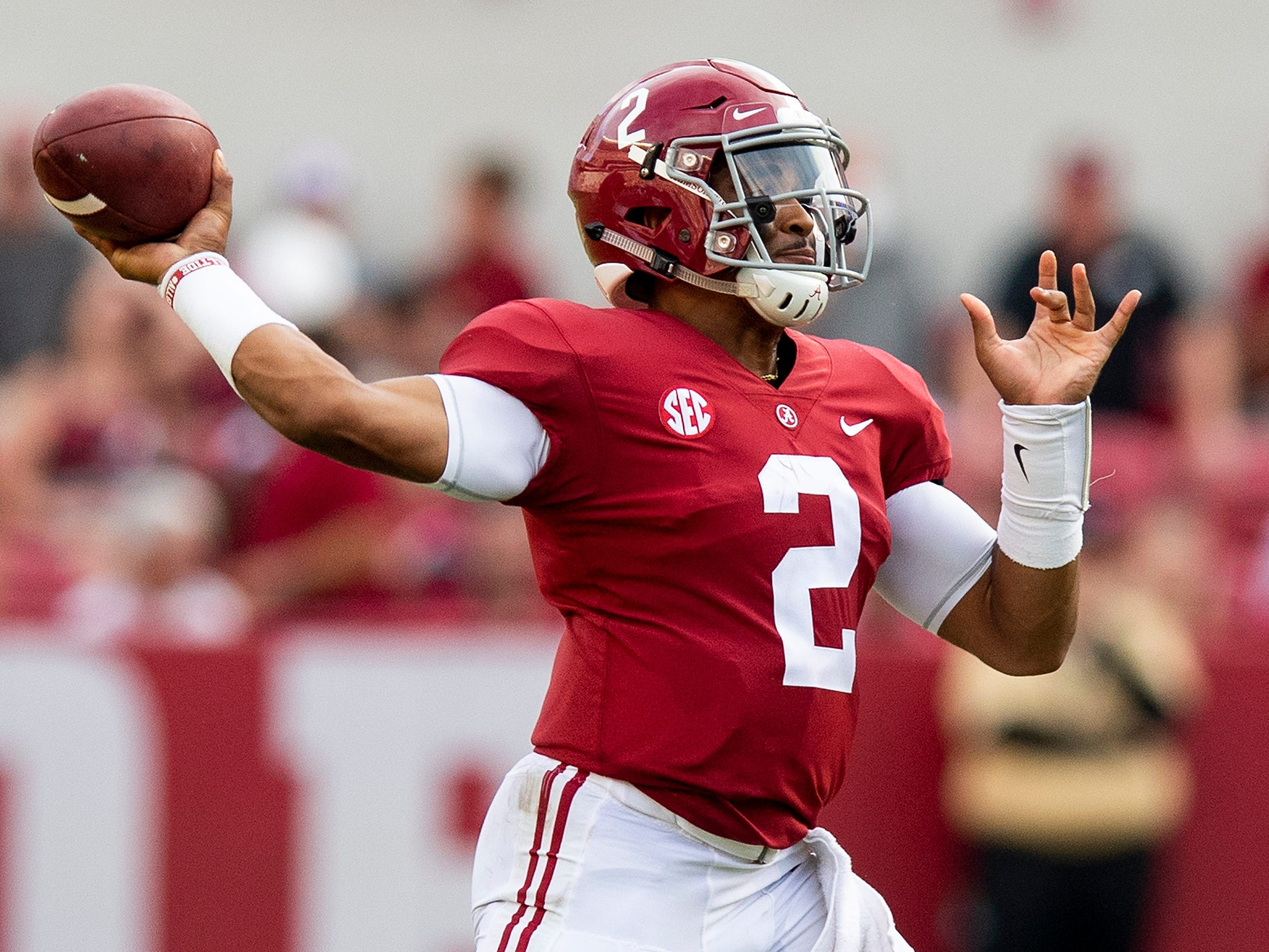 Alabama quarterback Jalen Hurts (2) throws in second half action against Arkansas State at Bryant Denny Stadium in Tuscaloosa, Ala., on Saturday September 8, 2018.