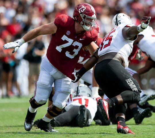Alabama offensive lineman Jonah Williams (73) in first half action against Arkansas State at Bryant Denny Stadium in Tuscaloosa, Ala., on Saturday September 8, 2018.