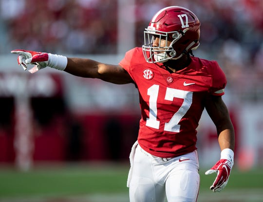 Alabama wide receiver Jaylen Waddle (17) in second half action against Arkansas State at Bryant Denny Stadium in Tuscaloosa, Ala., on Saturday September 8, 2018.