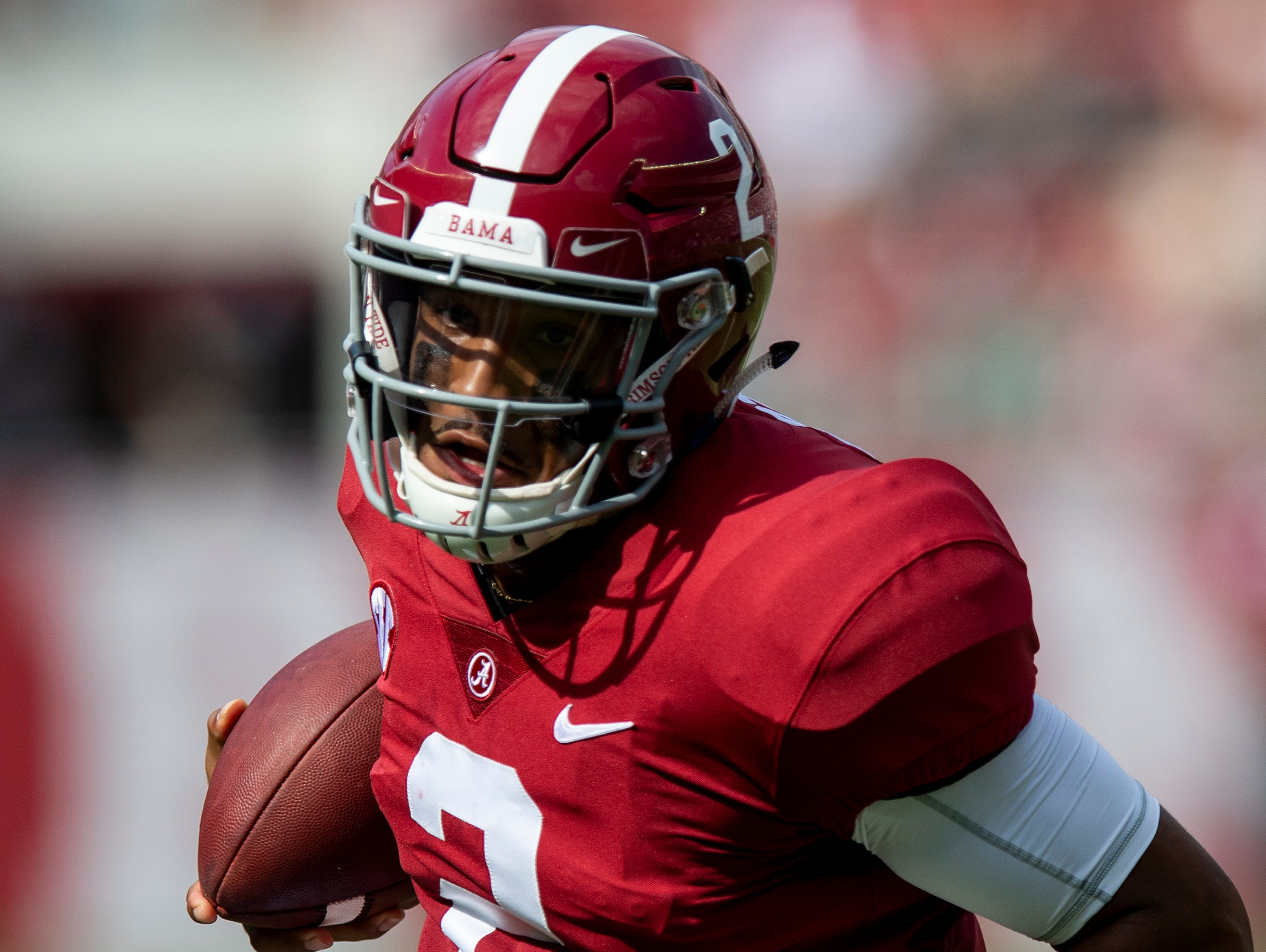 Alabama quarterback Jalen Hurts (2) carries the ball in first half action against Arkansas State at Bryant Denny Stadium in Tuscaloosa, Ala., on Saturday September 8, 2018.