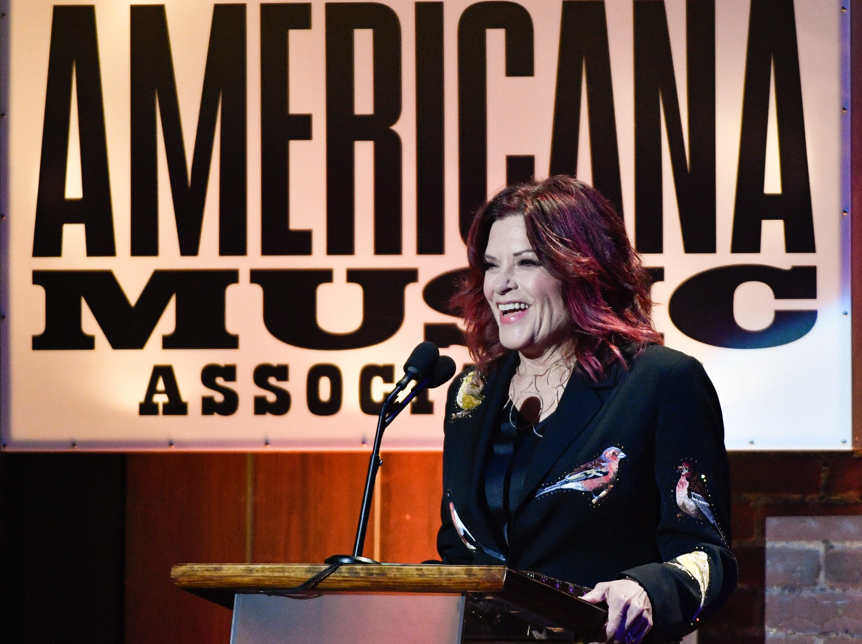 Rosanne Cash accepts the Freedom of Speech award during the 2018 Americana Honors and Awards show at the Ryman Auditorium in Nashville, Tenn., Wednesday, Sept. 12, 2018.