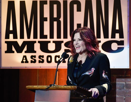 Rosanne Cash accepts the Freedom of Speech award during the 2018 Americana Honors and Awards show at the Ryman Auditorium in Nashville.
