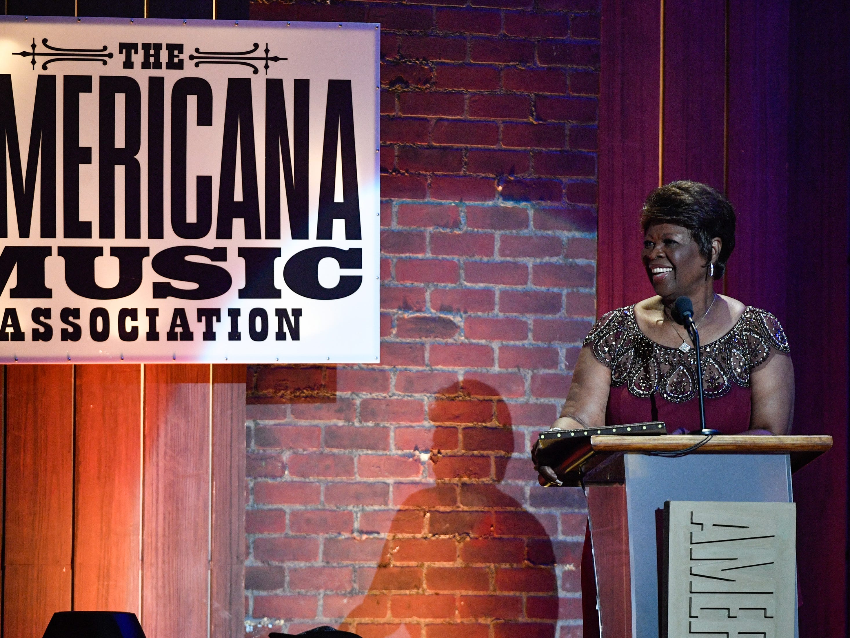 Irma Thomas accepts the Lifetime Performance Award performs during the 2018 Americana Honors and Awards show at the Ryman Auditorium in Nashville, Tenn., Wednesday, Sept. 12, 2018.