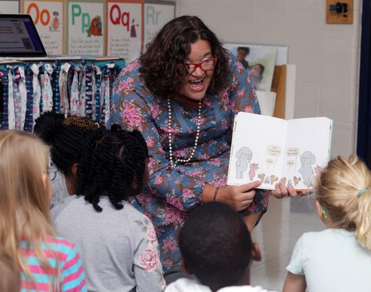 Melissa Miller reads to her first-grade class at Franklin Elementary School on Sept. 12. Miller is finalist for Tennessee Teacher of the Year.