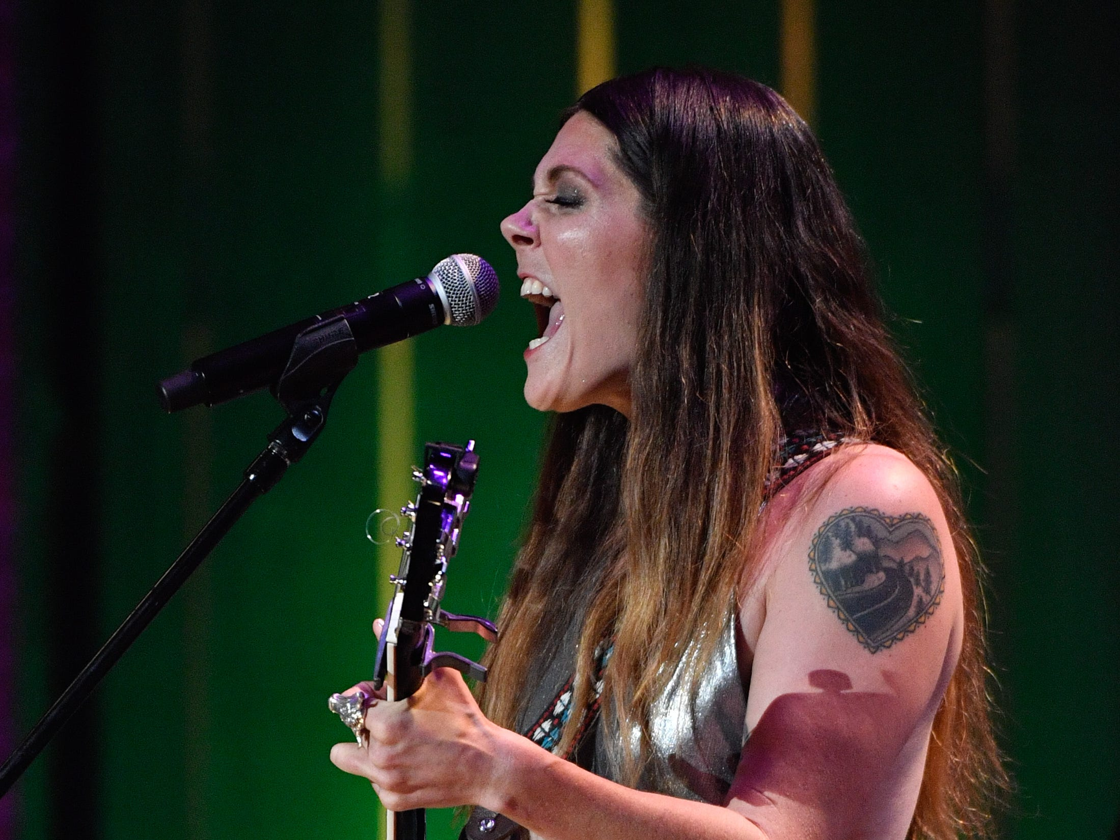 Lilly Hiatt performs during the 2018 Americana Honors and Awards show at the Ryman Auditorium in Nashville, Tenn., Wednesday, Sept. 12, 2018.