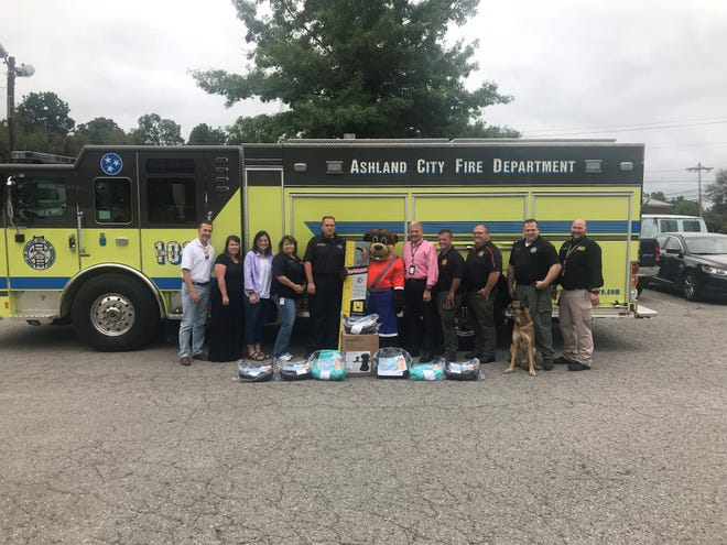 School Resource Officers have seven new booster seats for the Cheatham County School District's elementary schools thanks to a donation from an Ashland City insurance agency. Representatives from the Cheatham County School District, Ashland City Fire Department, Cheatham County Sheriff's Office, Cheatham County EMS and Ollie Otter Booster Seat and Seat Belt Safety Safety Program gathered Monday, Sept. 10.