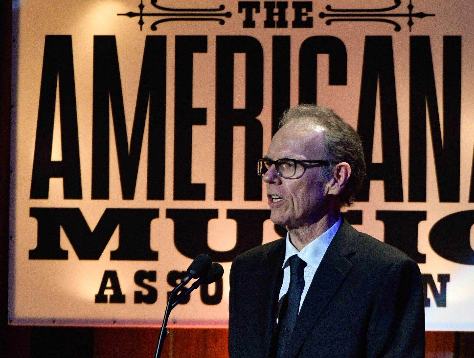 John Hiatt introduces his daughter Lilly Hiatt during the 2018 Americana Honors and Awards show at the Ryman Auditorium in Nashville, Tenn., Wednesday, Sept. 12, 2018.