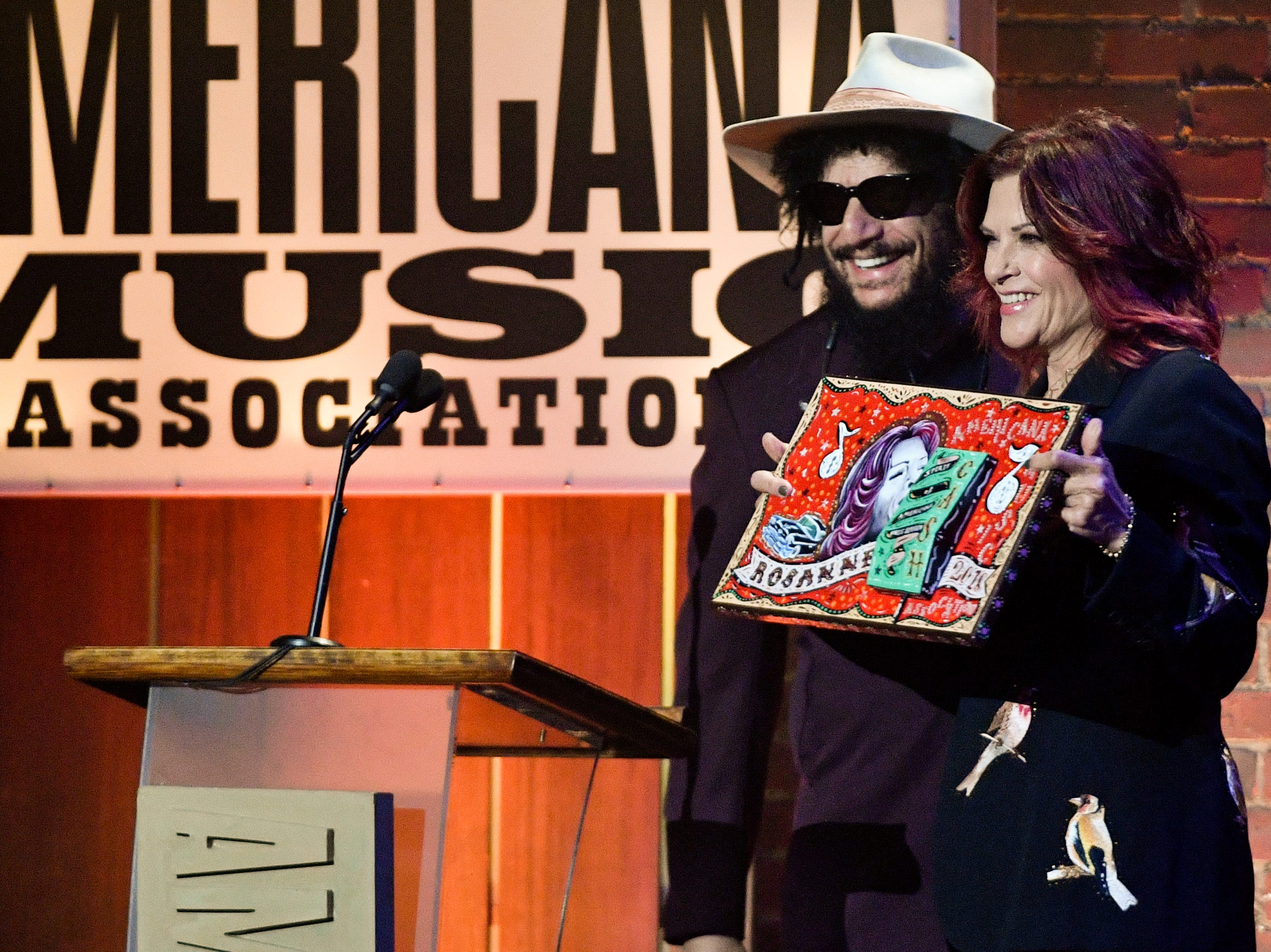 Don Was presents Rosanne Cash with the Freedom of Speech award during the 2018 Americana Honors and Awards show at the Ryman Auditorium in Nashville, Tenn., Wednesday, Sept. 12, 2018.
