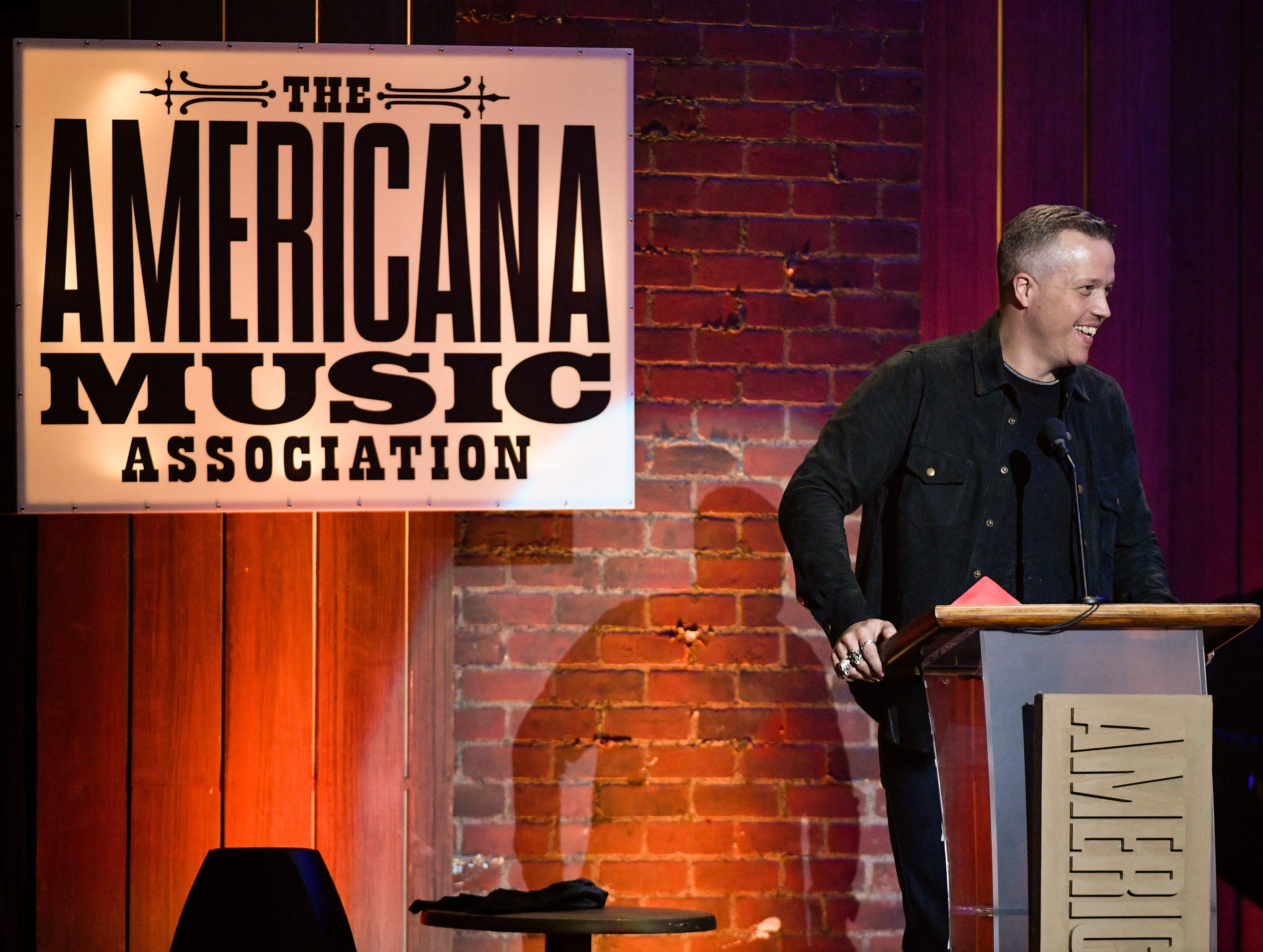 Jason Isbell accepts the Album of the Year award during the 2018 Americana Honors and Awards show at the Ryman Auditorium in Nashville, Tenn., Wednesday, Sept. 12, 2018.