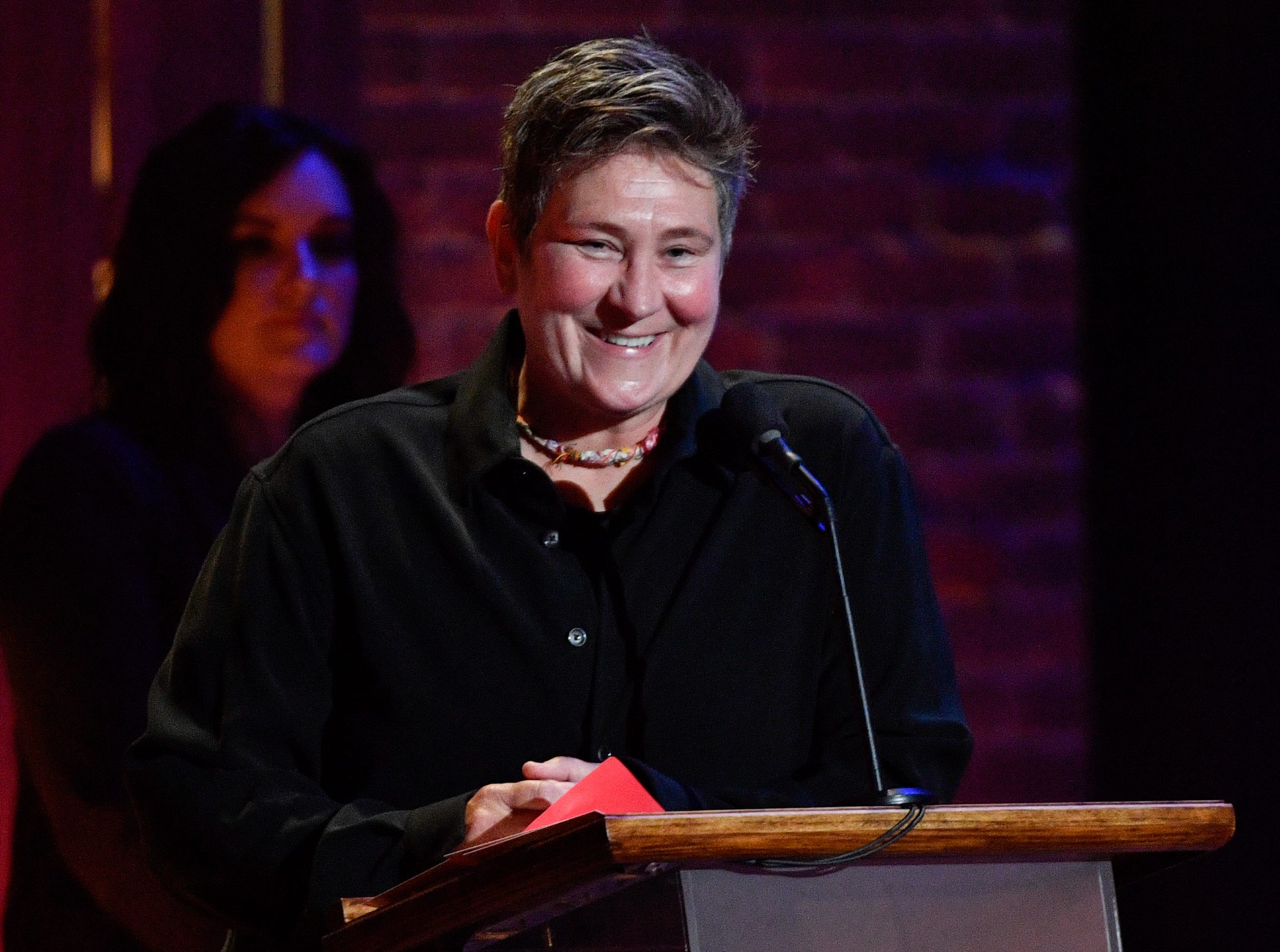 KD Lang accepts the Trailblazer award during the 2018 Americana Honors and Awards show at the Ryman Auditorium in Nashville, Tenn., Wednesday, Sept. 12, 2018.