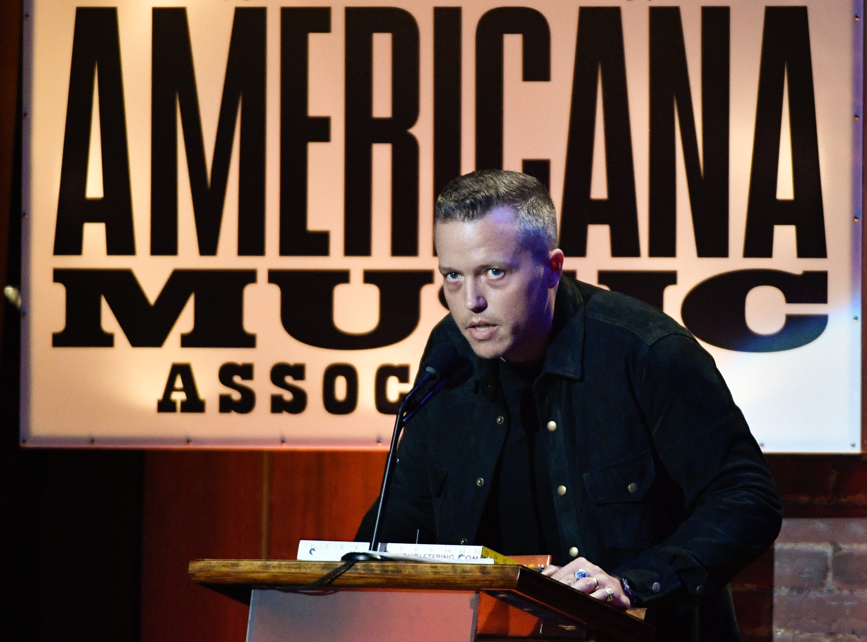 Jason Isbell accepts the Song of the Year award during the 2018 Americana Honors and Awards show at the Ryman Auditorium in Nashville, Tenn., Wednesday, Sept. 12, 2018.