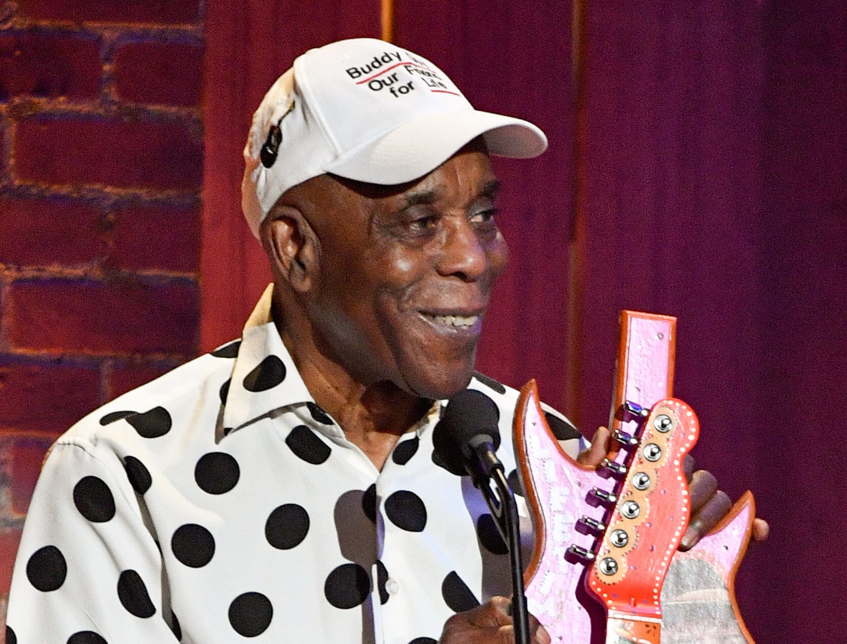 Buddy Guy accepts the Lifetime Instrumentalist award during the 2018 Americana Honors and Awards show at the Ryman Auditorium in Nashville, Tenn., Wednesday, Sept. 12, 2018.