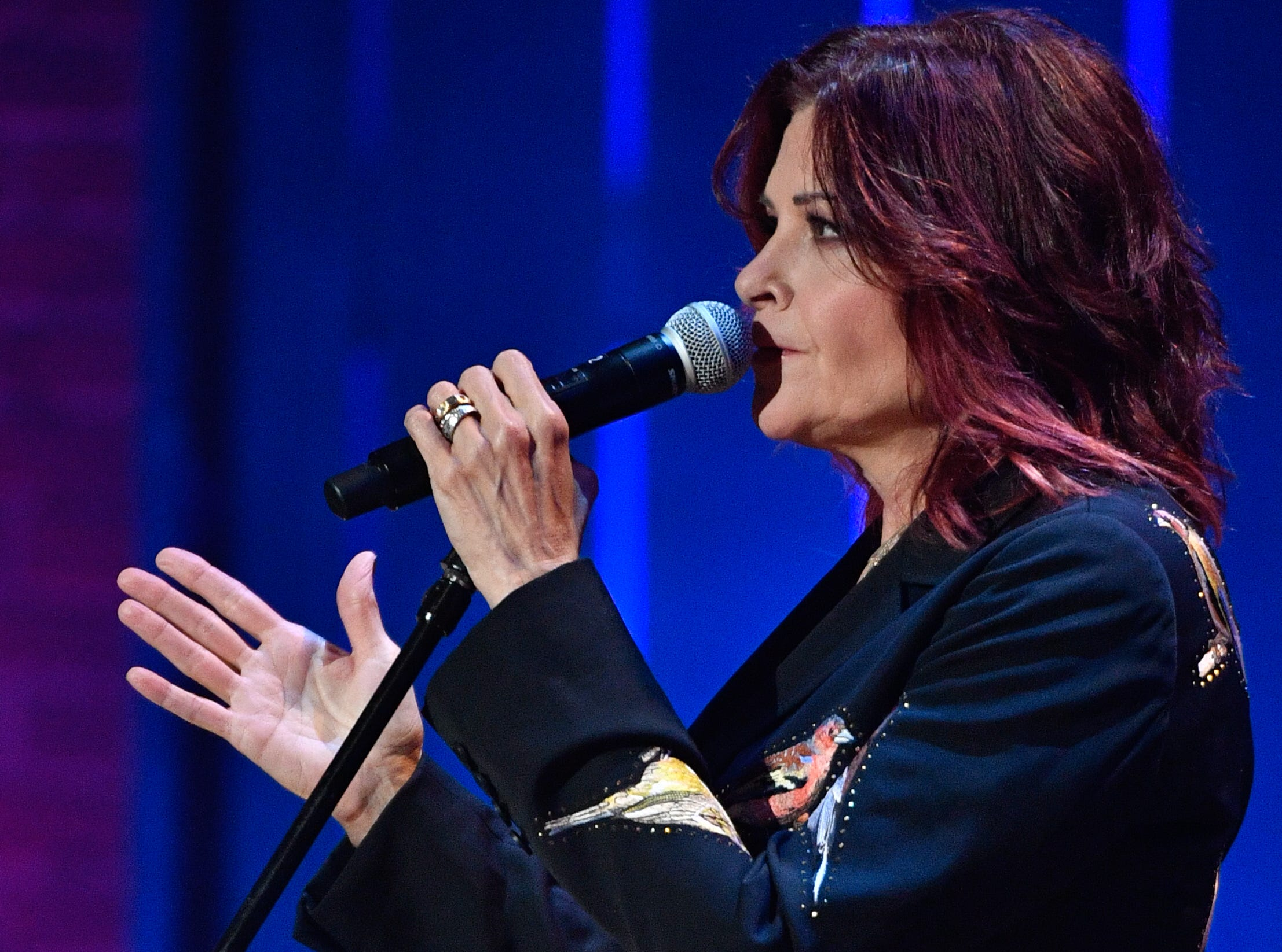 Rosanne Cash performs during the 2018 Americana Honors and Awards show at the Ryman Auditorium in Nashville, Tenn., Wednesday, Sept. 12, 2018.