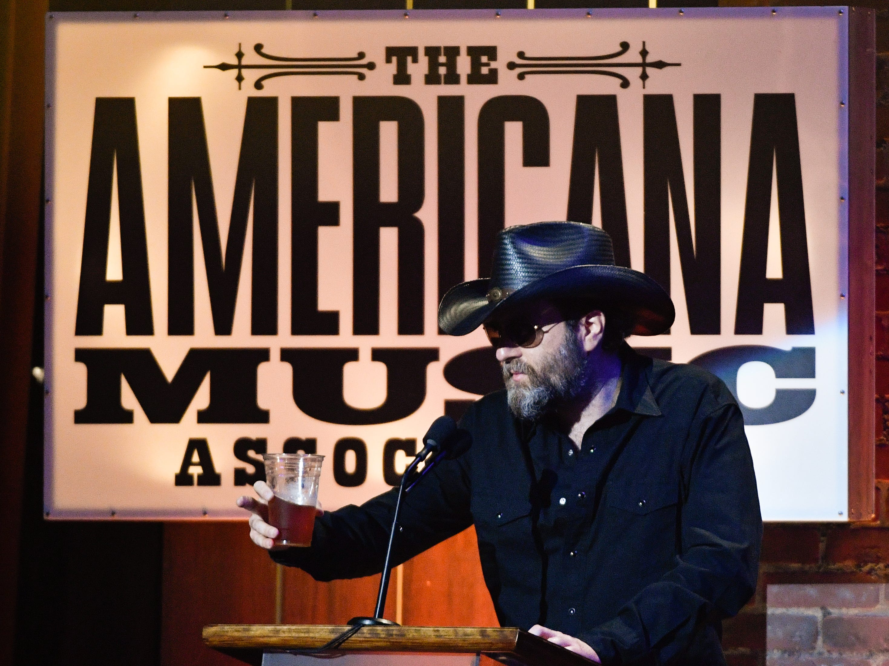 Wheeler Walker Jr. introduces Tyler Childers during the 2018 Americana Honors and Awards show at the Ryman Auditorium in Nashville, Tenn., Wednesday, Sept. 12, 2018.