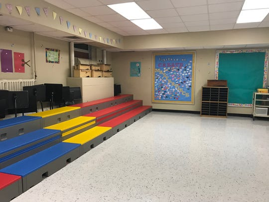 A music room in Villano Elementary School's basement. All classes would be moved out of the basement if the $13.3 million referendum is passed.