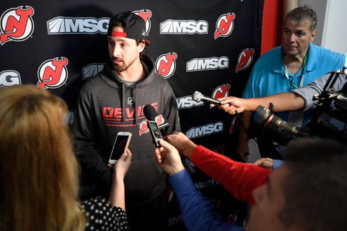 New Jersey Devils goalie Keith Kinkaid talks to reporters during media day at the Prudential Center in Newark, NJ on Thursday, September 13, 2018.
