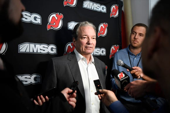 New Jersey Devils general manager Ray Shero talks to reporters during media day at the Prudential Center in Newark, NJ on Thursday, September 13, 2018.