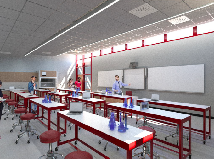 A rendering of a new science classroom at Emerson Junior/Senior High School