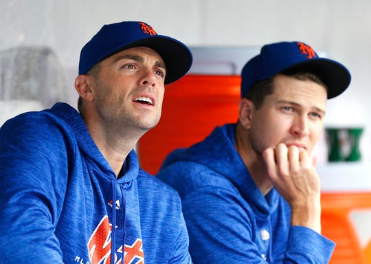 Sep 13, 2018; New York City, NY, USA;   New York Mets third baseman David Wright (5) and starting pitcher Jacob deGrom (48)  in the dugout during game against the Miami Marlins at Citi Field. Mandatory Credit: Noah K. Murray-USA TODAY Sports