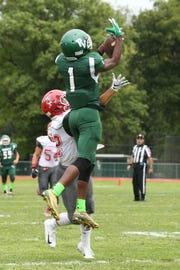 Passaic Valley's Aseem Ross catching a touchdown pass against Lakeland.