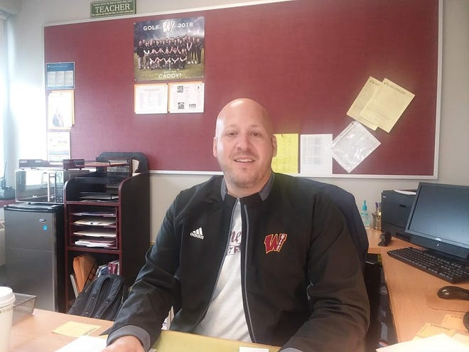 New athletic director Jeff DiLollo in his office at Wayne Hills.