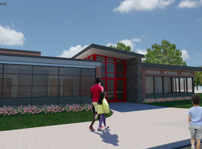 A rendering of the proposed new Memorial Elementary School security-enhanced entrance.