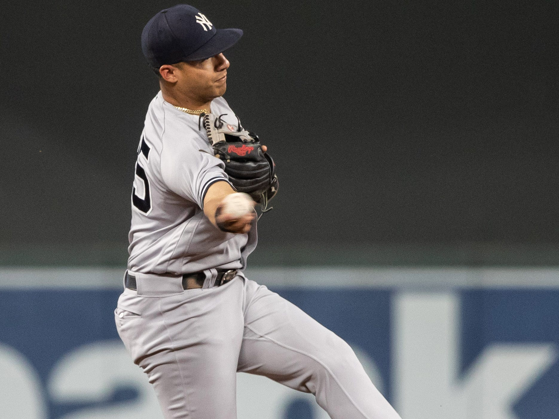 Sep 12, 2018; Minneapolis, MN, USA; New York Yankees second baseman Gleyber Torres (25) throws to first base for the out during the second inning against the Minnesota Twins at Target Field.
