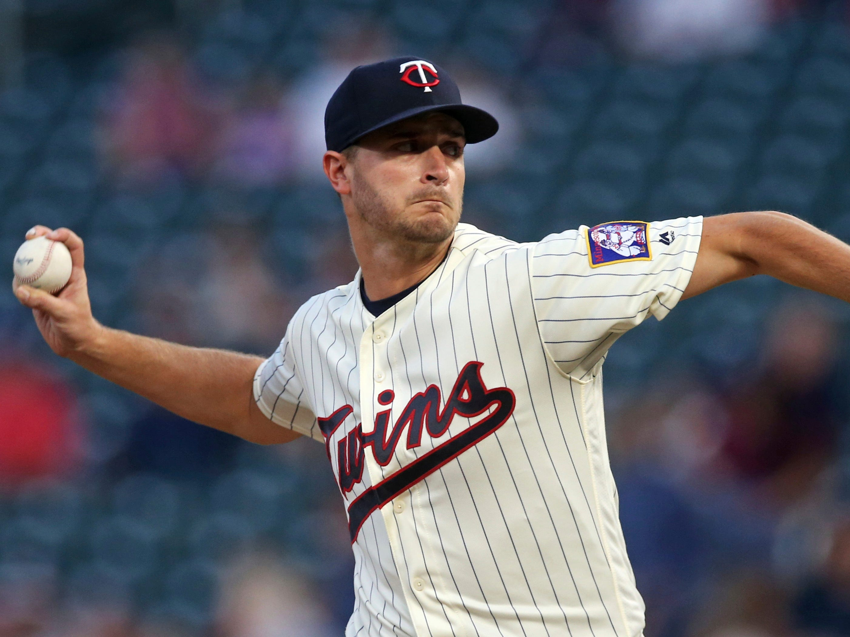 Minnesota Twins pitcher Jake Odorizzi throws against the New York Yankees in the first inning of a baseball game Wednesday, Sept. 12, 2018, in Minneapolis.