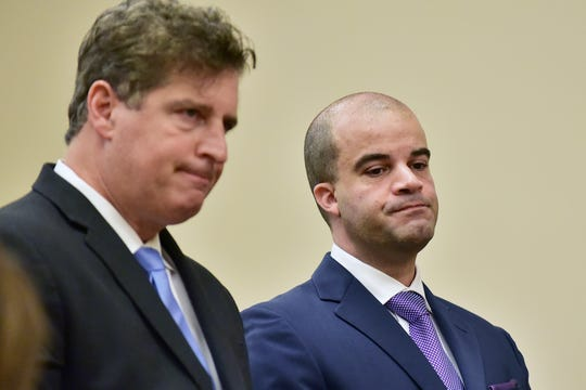 Michael Coppola, (right), the former chief of the Palisades Interstate Parkway Police Department, who was arrested in August for allegedly buying cocaine, appears at Bergen County Courthouse in Hackensack, with his attorney Timothy Smith (left) on Thursday, September 13. His hearing was adjourned till October 4.