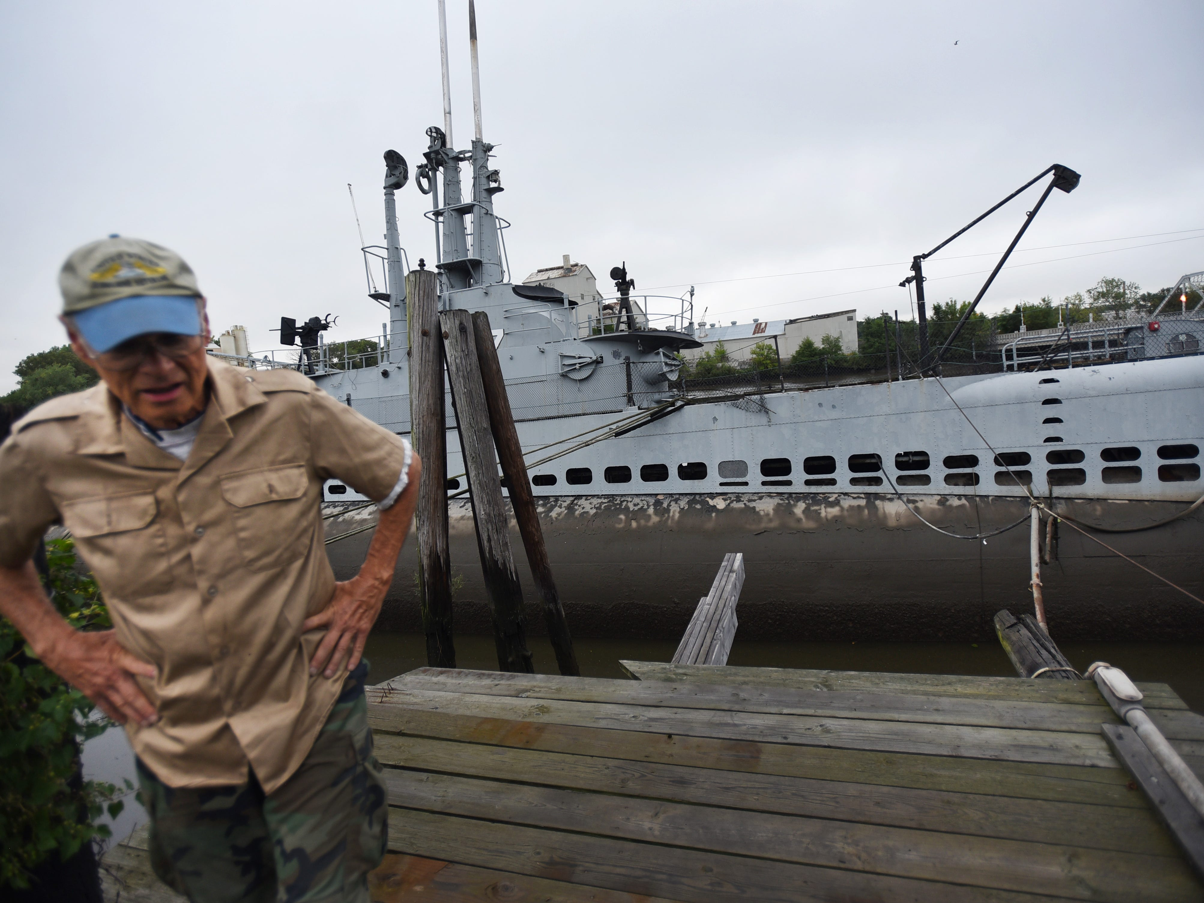 Jack Brown, Trustee of Submarine Memorial Association stands in from of the 1945 USS Ling SS297, 312 foot long submarine that will remain at the site of the NJ Naval Museum in Hackensack on 09/12/18.