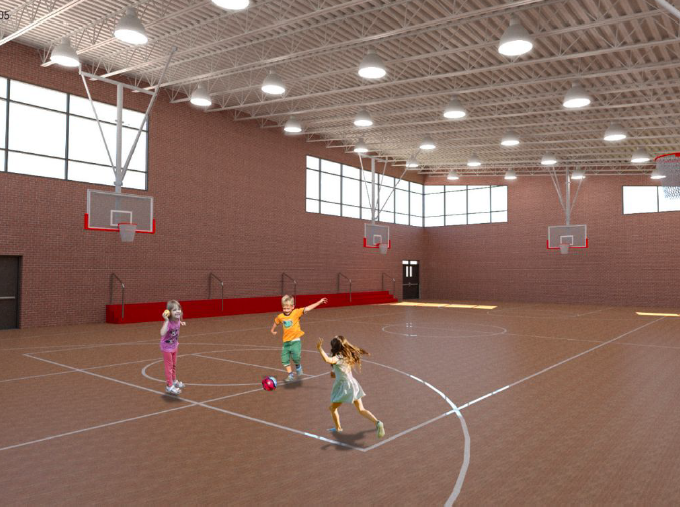 Rendering of the new Memorial School Gym. Superintendent Brian Gatens said this full-sized basketball court/athletic facility will be used by both the school and the town.