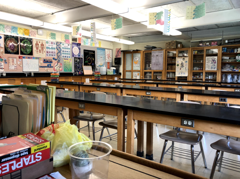 A science classroom at Emerson Junior/Senior High School as it exists today.
