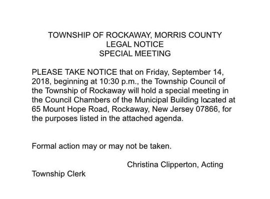 Rockaway Township's legal notice of meeting.