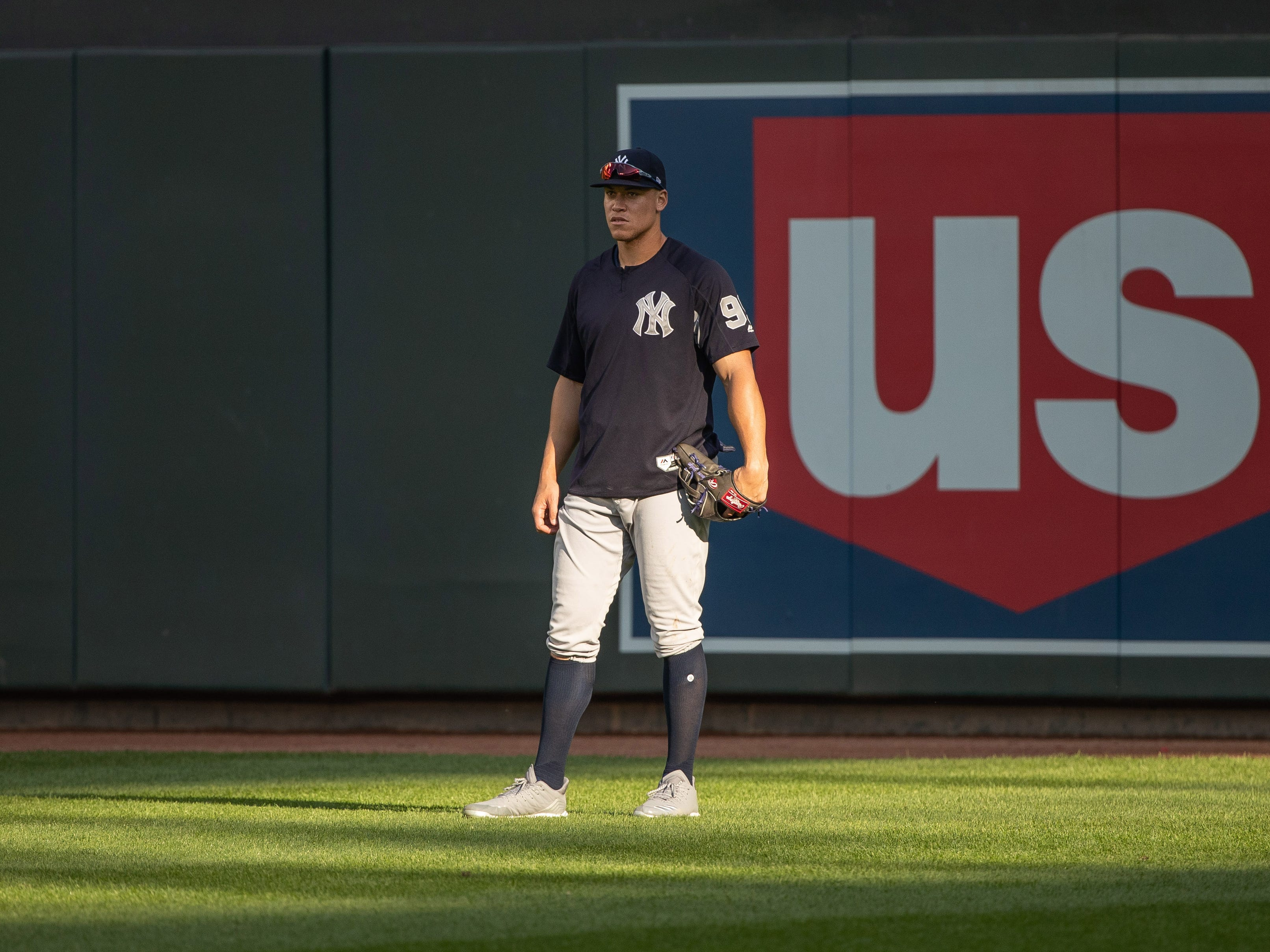 Sep 12, 2018; Minneapolis, MN, USA; New York Yankees right fielder Aaron Judge (99) looks on during batting practice prior to a game against the Minnesota Twins at Target Field.