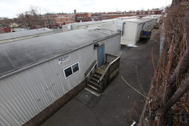Trailers are shown behind School 1 in Paterson shown in March of 2015.