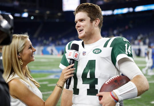 Sep 10, 2018; Detroit, MI, USA; New York Jets quarterback Sam Darnold (14) does a post game interview after the game against the Detroit Lions at Ford Field.