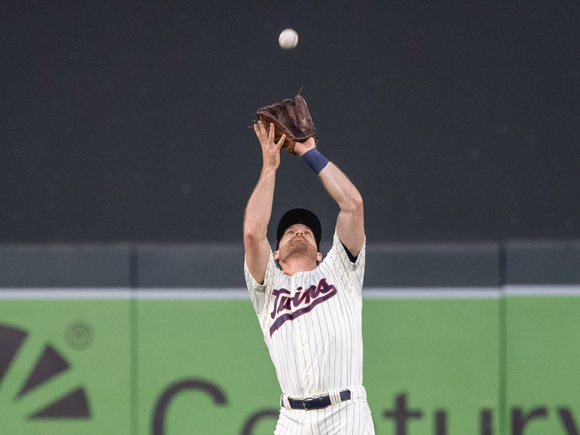 Sep 12, 2018; Minneapolis, MN, USA; Minnesota Twins second baseman Logan Forsythe (24) catches the ball for the out during the first inning against the New York Yankees at Target Field.