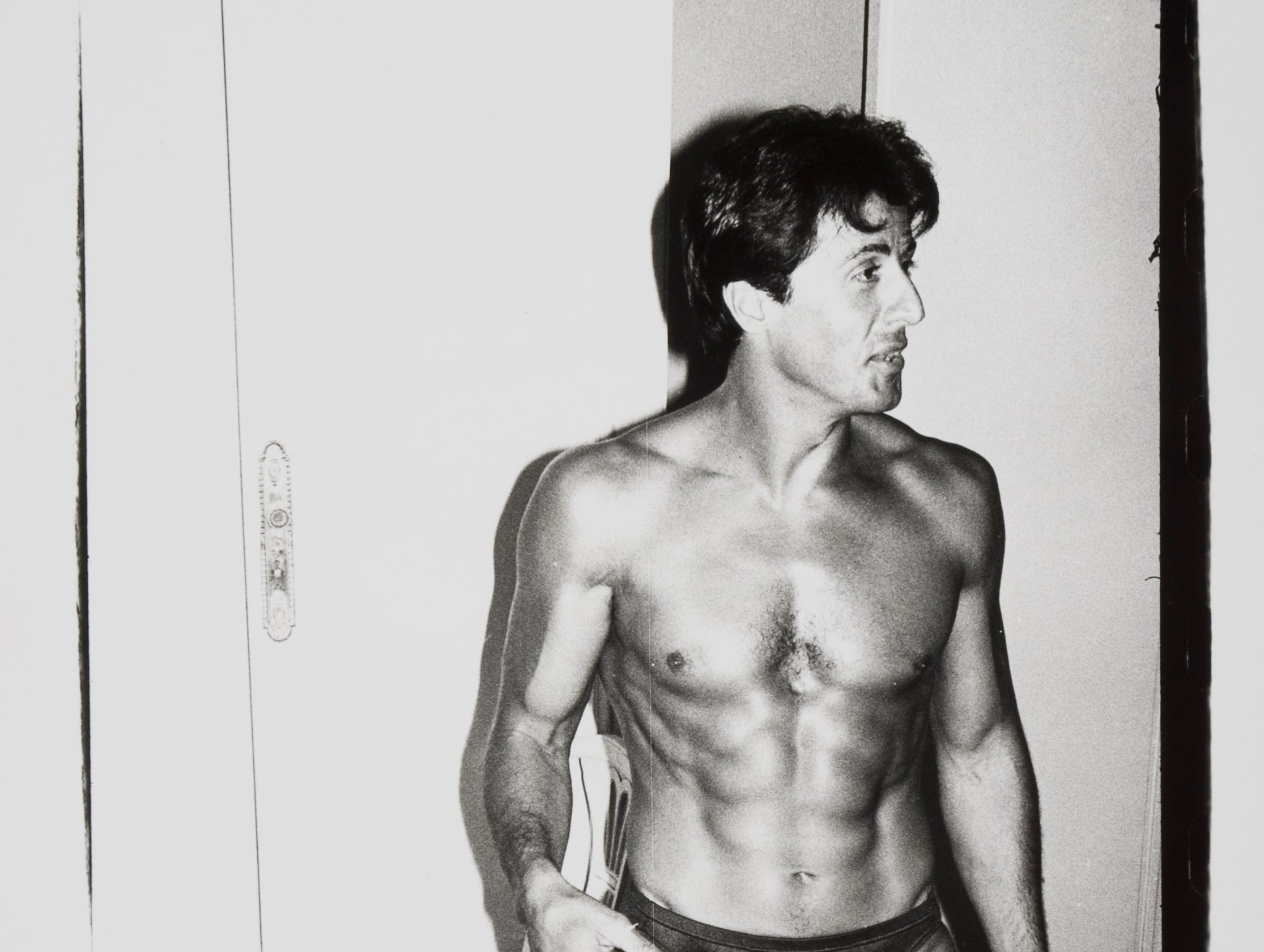Celebrity Culture: Warhol Andy Warhol Sylvester Stallone, undated  Gelatin silver print  Collection Zimmerli Art Museum at Rutgers  Gift of The Andy Warhol Foundation for the Visual Arts  © 2018 The Andy Warhol Foundation for the Visual Arts, Inc. / Licensed by Artists Rights Society (ARS), New York  Photo Jack Abraham