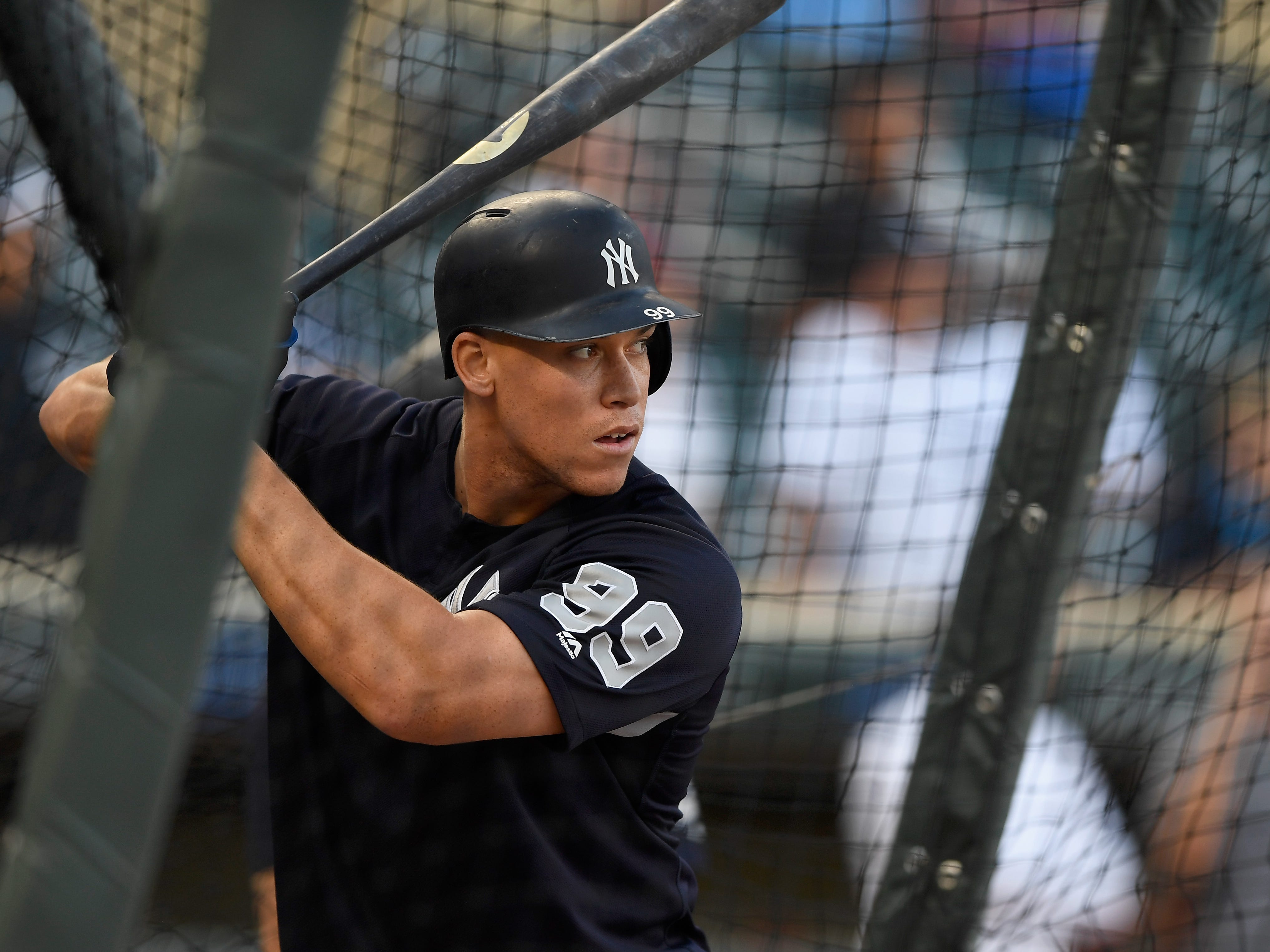 MINNEAPOLIS, MN - SEPTEMBER 12: Aaron Judge #99 of the New York Yankees takes batting practice before the game against the Minnesota Twins on September 12, 2018 at Target Field in Minneapolis, Minnesota.