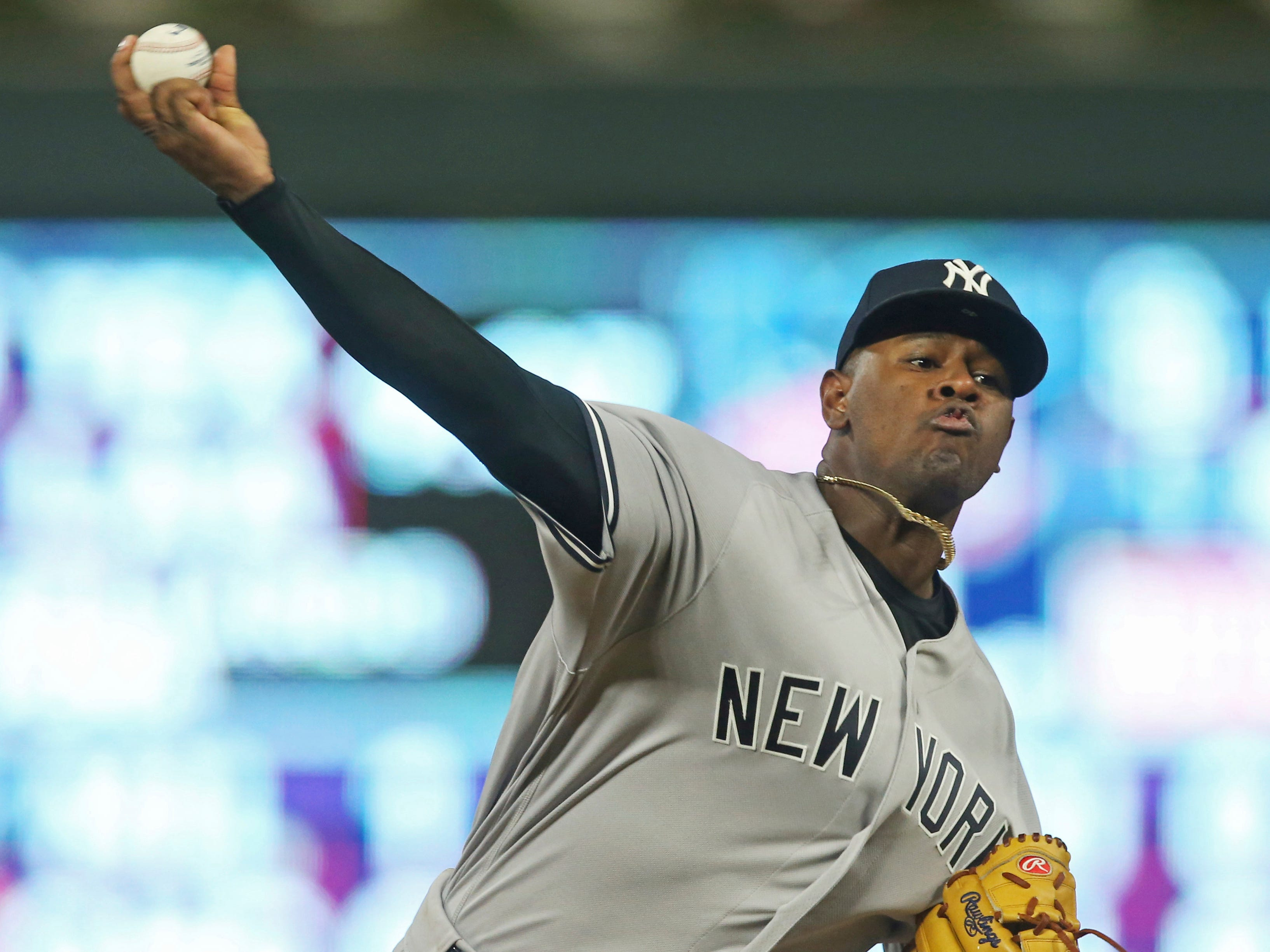New York Yankees pitcher Luis Severino throws against the Minnesota Twins in the fourth inning of a baseball game Wednesday, Sept. 12, 2018, in Minneapolis.