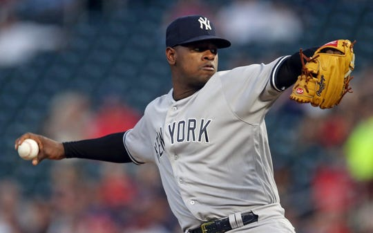 New York Yankees pitcher Luis Severino throws against the Minnesota Twins in the first inning of a baseball game Wednesday, Sept. 12, 2018, in Minneapolis.
