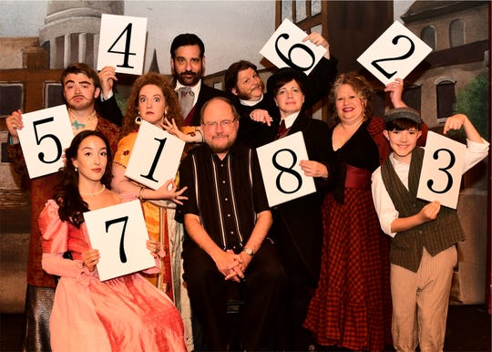 """""""The Mystery of Edwin Drood."""" Author  Rupert Holmes surrounded by principal cast members at Bergen County Players, clockwise from lower left: Taylor Rose Rizzotti, Steve Munoz, Elaine Thoman, Larry Brustofski, Bryan John Morris, Nancy Feldman, Janica Carpenter, Louie X. Aiello."""