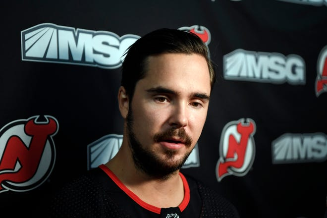 New Jersey Devils forward Marcus Johansson talks to reporters during media day at the Prudential Center in Newark, NJ on Thursday, September 13, 2018.